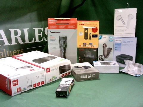 MEDIUM BOX OF ASSORTED TECH ITEMS TO INCLUDE ONE FOR ALL INDOOR AERIAL, PANASONIC BEARD/HAIR TRIMMER , NOW TV STICKS