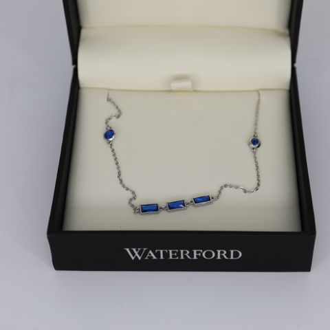 BRAND NEW BOXED WATERFORD WN148 CREATED SAPPHIRE NECKLACE