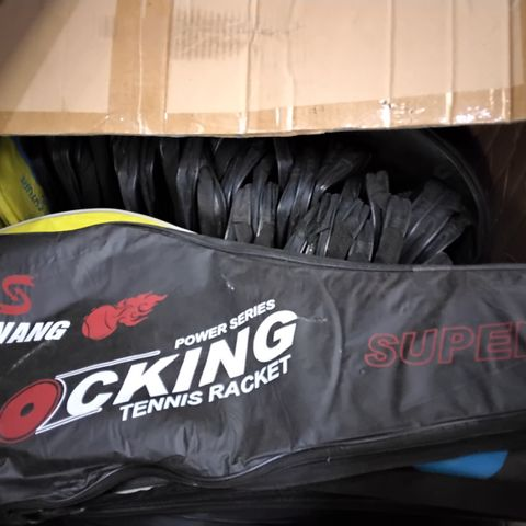 BOX OF APPROXIMATELY 35 ASSORTED TENNIS RACKET COVERS