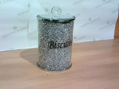 SILVER/MIRRORED CRYSTAL BISCUIT TIN