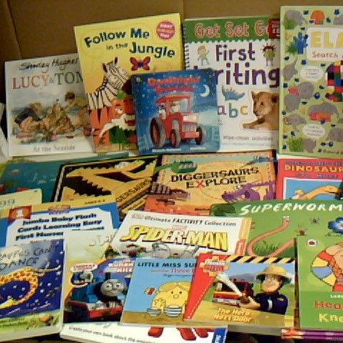 ASSORTMENT OF APPROX 26 BOOKS IDEAL FOR PRESCHOOL AGED CHILDREN, TITLES INCLUDE ELMER, JULIA DONALSONS TIDDLER AND ERIC CARLE PLEASE PLEASE GET THE MOON FOR ME