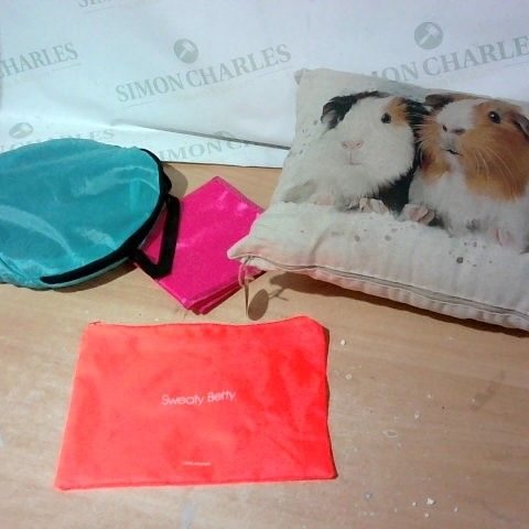 BOX OF ASSORTED HOUSEHOLD ITEMS TO INCLUDE DESIGNER ANIMAL PRINT CUSHION, SWEATY BETTY BAG, DESIGNER PET TOY ETC
