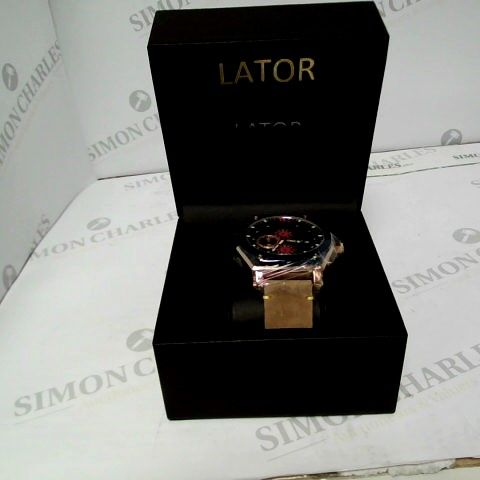 MENS LATOR CHRONOGRAPH WATCH - LEATHER STRAP WITH BLSVK DIAL ADN RED DETAILING