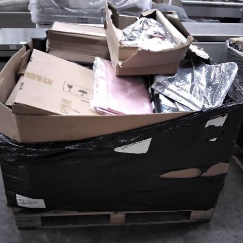 PALLET OF ASSORTED ITEMS, INCLUDING, CLEAR PROTECTIVE SLEEVES, TABLE TENNIS GAMES, SEASONAL FIGURES, WINDOW FILM.