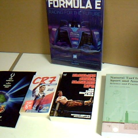 ASSORTMENT OF 5 SPORT RELATED BOOKS INCLUDING SEALED FORMULA E RACING FOR THE FUTURE