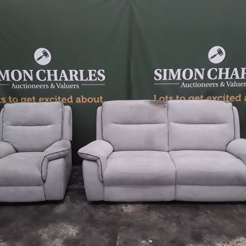 QUALITY EXPRESSIONS GREY FABRIC MANUALLY RECLINING THREE SEATER SOFA AND POWER RECLINING ARMCHAIR
