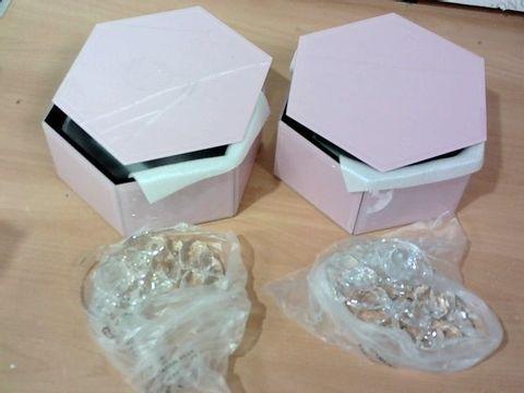 JULIEN MACDONALD SET OF CRYSTAL LOTUS FLOWER PINK TRINKET BOXES