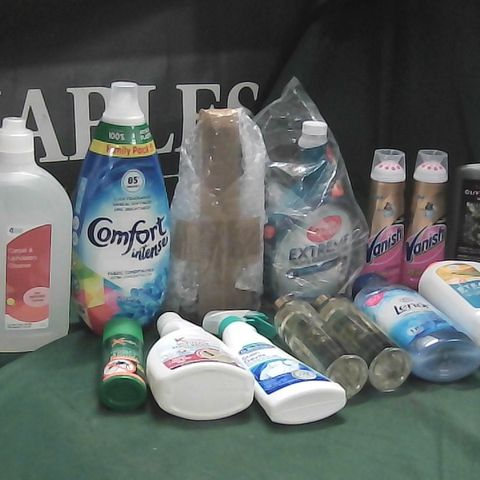 LOT OF ASSORTED HOME LIQUIDS TO INCLUDE CARPET AND UPHOLSTERY CLEANER, OLIVE TREE FEED, MOSQUITO SPRAY
