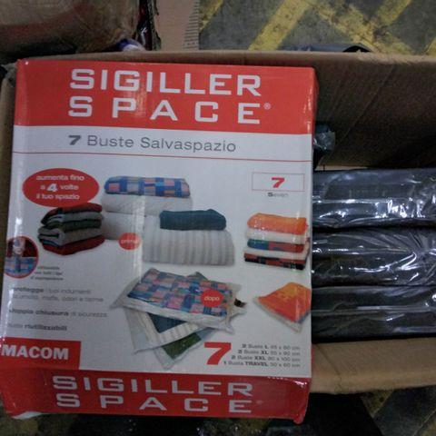 BOX OF 7 ASSORTED SIGILLER SPACE VACUUM BAG SETS