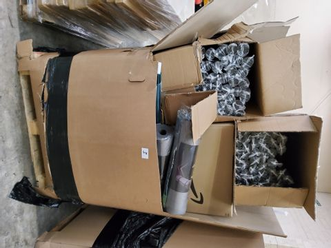 PALLET OF ASSORTED ITEMS, INCLUDING, WORLD SCRATCH MAPS, WINDOW FILM, EXCERCUSE MATS,