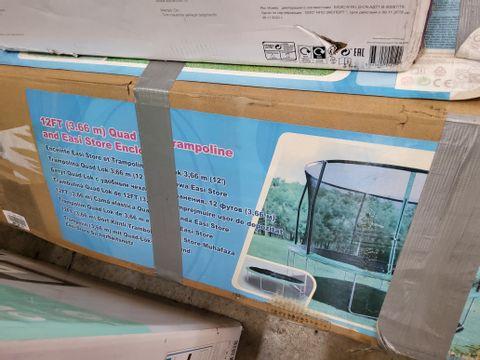BOXED 12' QUAD TRAMPOLINE & EASI STORE ENCLOSURE