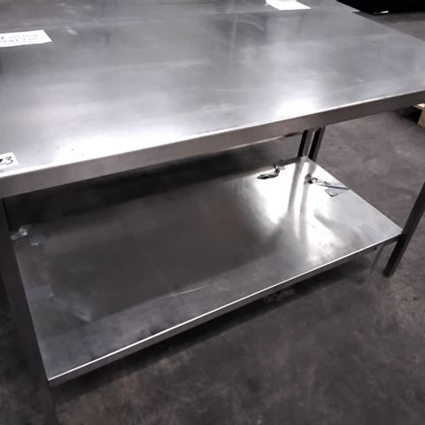 COMMERCIAL METAL PREP TABLE WITH UNDERSHELF 140 × 70cm