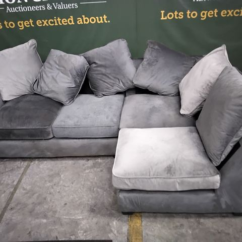 DESIGNER GREY FABRIC CORNER GROUP WITH SCATTER BACK CUSHIONS