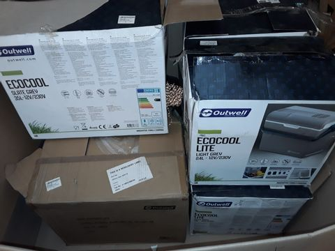 PALLET CONTAINING 7 ASSORTED CAMPING ITEMS TO INCLUDE 6 ELECTRIC COOLERS AND UNBAGGED SHELTER ITEM