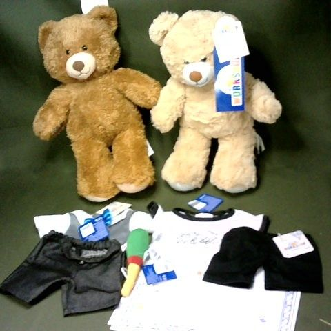 LOT OF 2 BUILD A BEAR PLUSHIES WITH CERTIFICATE AND ACCESSORIES