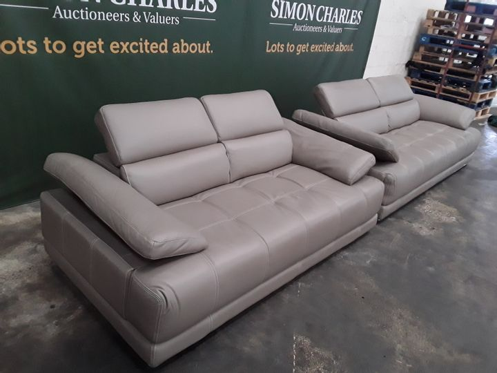 QUALITY ITALIAN TAUPE LEATHER UPHOLSTERED THREE AND TWO SEATER SOFAS WITH ADJUSTABLE HEADRESTS