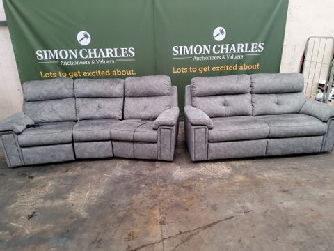 QUALITY G PLAN BURFORD PRAMA PEWTER FABRIC CURVED POWER RECLINING THREE SEATER SOFA & FIXED TWO SEATER SOFA