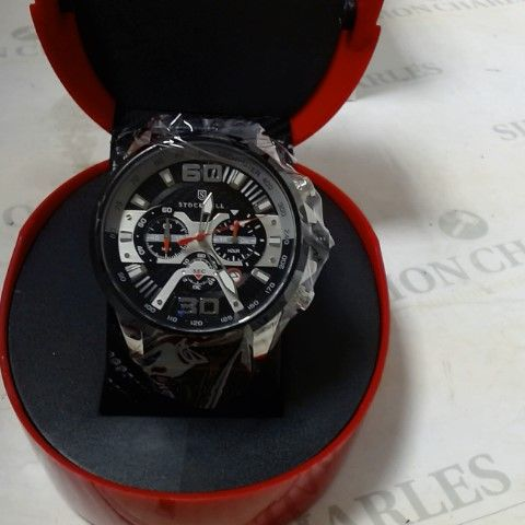 DESIGNER STOCKWELL RUBBER STRAP CHRONOGRAPH STYLE SPORTS WRISTWATCH