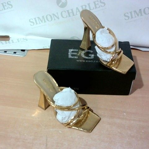 BOXED PAIR OF EGO HIGH HEELS SIZE 3