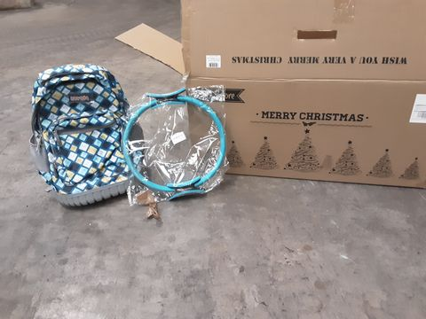 LARGE PALLET OF ASSORTED PRODUCTS TO INCLUDE ZOVOTA WHEELED BACKPACK, YONGZOR PILATES RING AND BUZYBEE ARTIFICIAL CHRISTMAS TREE WITH ORNAMENTS