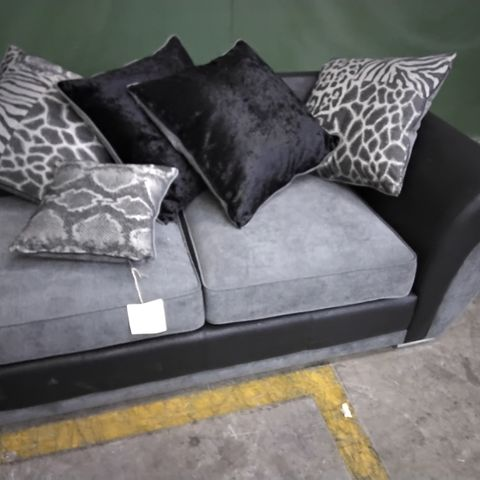 BLACK FAUX LEATHER & GREY FABRIC SOFA SECTION WITH SCATTER CUSHIONS