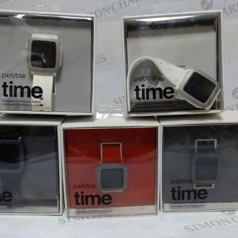 LOT OF APPROXIMATELY 5 PEBBLE TIME SMARTWATCHES