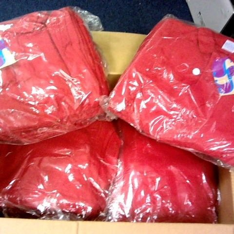 LOT 0F APPROXIMATELY 100 RED BOYS POLO SHIRTS IN VARIOUS SIZES