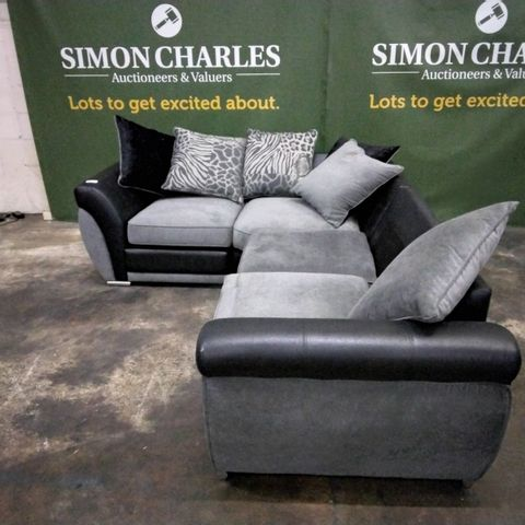 DESIGNER BLACK FAUX LEATHER & GREY FABRIC CORNER GROUP WITH SCATTER CUSHIONS