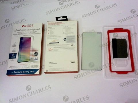 A BRAND NEW BOX OF APPROXIMATELY 70 INVISIBLE SHIELD GLASS FUSION VISION GUARD FOR SAMSUNG GALAXY S10+