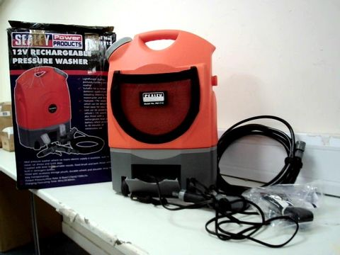 SEALEY PW1712 RECHARGEABLE PRESSURE WASHER, 12V, 17L CAPACITY, GREY/ORANGE