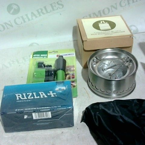 BOX OF APPROX. 15 ASSORTED ITEMS TO INCLUDE: 4PCS CONNECTOR SET, BOX OF RIZLA FILTER TIPS, WILD WOODGAS CAMPSTOVE SIZE: 53 X 43 X 40CM