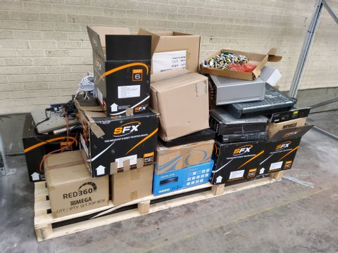 LARGE PALLET OF ASSORTED ELECTRONIC ITEMS, INCLUDING, SECURITY CAMERAS, MOXING DECK CASING, PRINTED CIRCUIT BOARDS, CABLES, SKY REMOTES