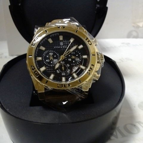 DESIGNER STOCKWELL LEATHER STRAP CHRONOGRAPH STYLE SPORTS WRISTWATCH