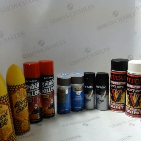 LOT OF ASSORTED ITEMS TO INCLUDE; SPIDFER KILLER, HIGH TEMPERATURE PAINT, DOUBLE ACRYLIC ETC