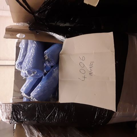 LARGE PALLET OF A SIGNIFICANT QUANTITY OF ASSORTED ITEMS TO INCLUDE DESIGNER NAVY NAPPY CHANGING BAG, ERGY COMFORT OFFICE CUSHION, EXERCISE MAT, SCREEN PROTECTORS ETC