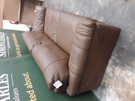 QUALITY GUY BROWN FAUX LEATHER 4-SEATER SOFA