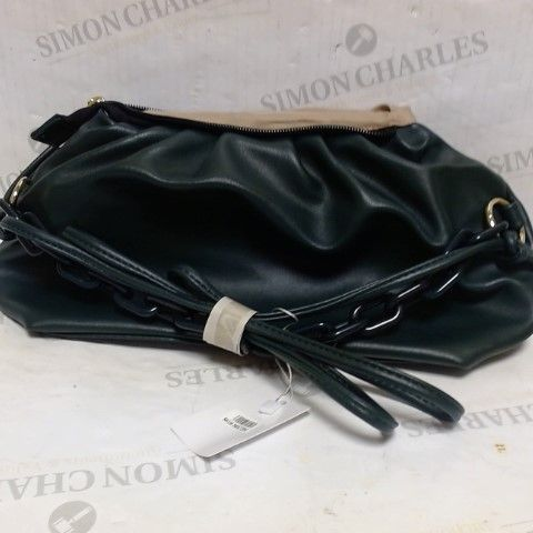 APPROXIMATELY 10 GREEN LEATHER EFFECT CLUTCH BAGS