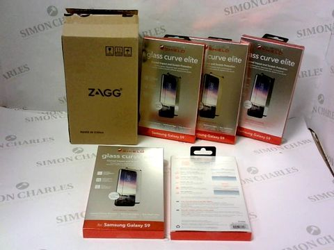 A BRAND NEW BOX OF APPROXIMATELY 50 INVISIBLE SHIELD GLASS CURVE ELITE  PROTECTION PHONE CASES FOR SAMASUNG GALAXY S9