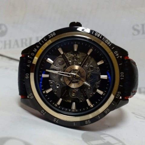 DESIGNER STOCKWELL AUTOMATIC SKELETON DIAL LEATHER STRAP WRISTWATCH