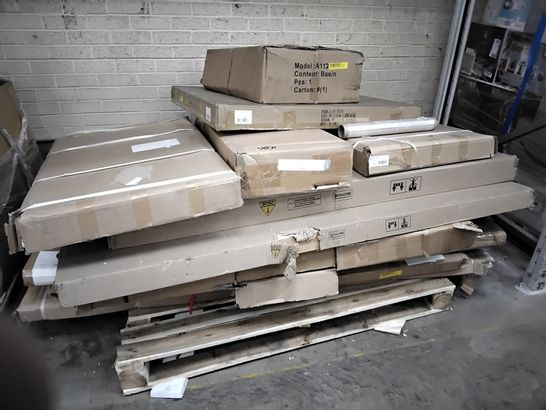 PALLET OF ASSORTED BOXED FURNITURE PARTS.