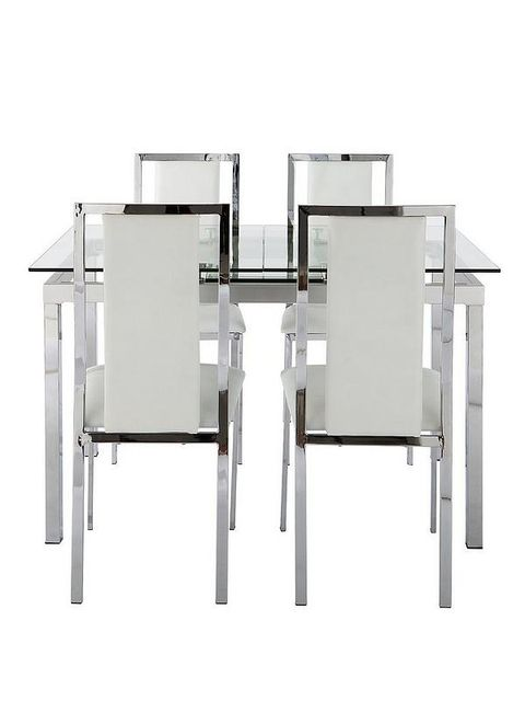 BOXED GRADE 1 GLIDE CLEAR GLASS AND CHROME TABLE (1 BOX)