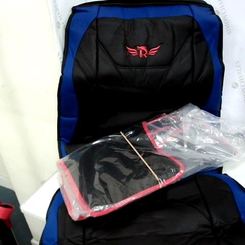 SET OF BLACK RED EDGED CAR MAT SET & BLACK/BLUE SEAT COVER