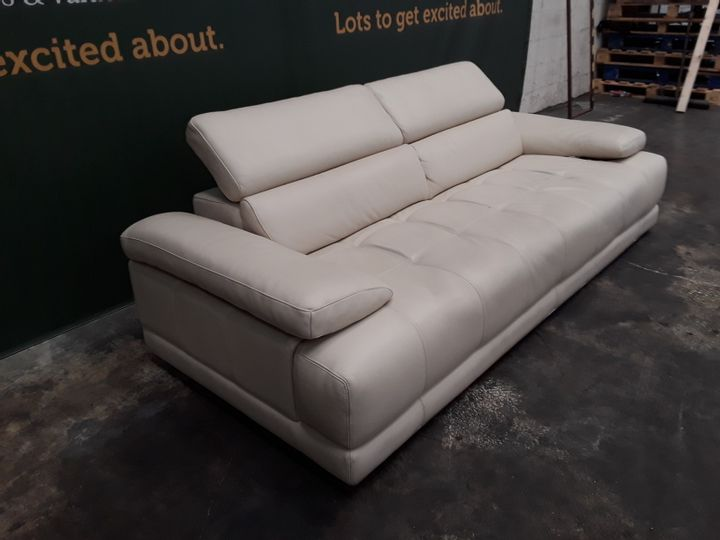 QUALITY ITALIAN CREAM LEATHER UPHOLSTERED THREE SEATER SOFA WITH ADJUSTABLE HEADRESTS