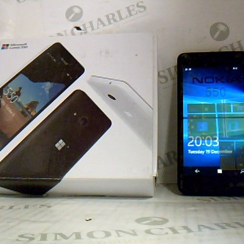 BOXED MICROSOFT LUMIA 550 WITH CHARGER - POWERS ON STILL HAS SCREEN PROTECTOR ON SCREEN