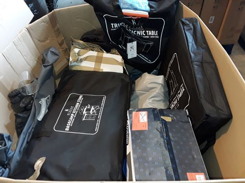 PALLET OF ASSORTED OUTDOOR AND CAMPING ITEMS TO INCLUDE BASE CAMP KITCHEN STAND, VEGAS XL CHAIR AND ELITE 6-SHELF WARDROBE