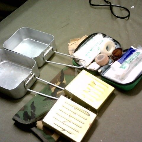 FIRST AID KIT, CAMPING COOKING TRAYS, SOLID FUEL COOKERS