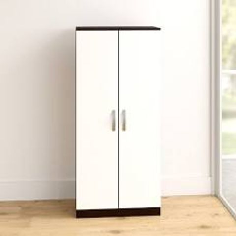 BOXED ARKADI J 2-DOOR WHITE WARDROBE (2 BOXES)