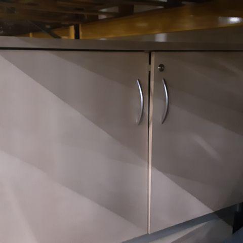 LIGHT OAK & GREY 2 DOOR OFFICE CABINET-60CM X 72.5CM X 100.5CM