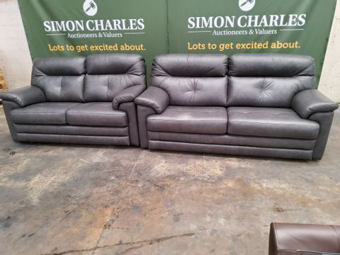 QUALITY G PLAN STANTON REGENT CHARCOAL LEATHER THREE & TWO SEATER FIXED SOFAS