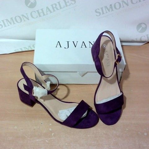 BOXED PAIR OF AJVANI HIGH HEEL SANDALS SIZE 6